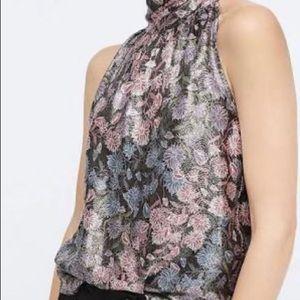 J. Crew tie neck top in floral print